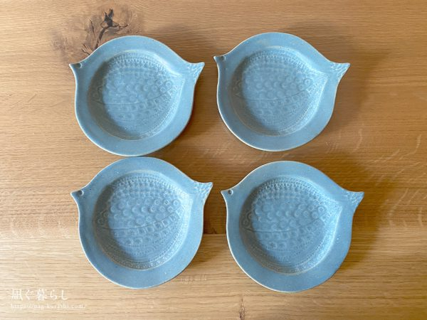 ブルーグレー 鳥皿 よしざわ窯